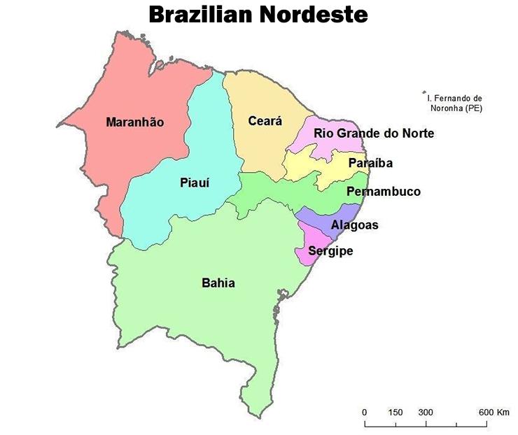Map Nordeste Brazil